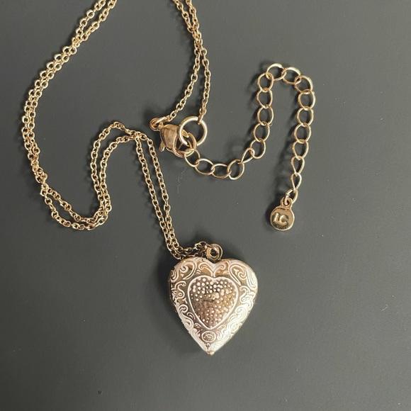 Lauren Conrad gold tone heart locket pendant